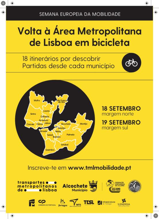 """Iniciativa """"Volta à Área Metropolitana de Lisboa em bicicleta"""" – 19 de setembro"""